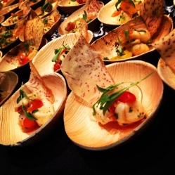 Bay Scallop Ceviche with a Taro Root Chip